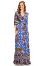 New Blue  3/4 Looped sleeve waist tie overlap Maxi Dress Made in USA SZ Small