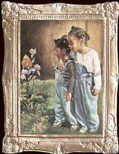AFRO AMER GIRLS - BUTTERFLY Dollhouse Picture FRAMED Art - MADE IN AMERICA
