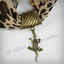 Scarf Ring.Pendant, Clip, Large Bail Antique Bronze Lizard Jewellery, FREE Pouch