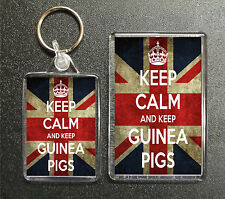 KEEP CALM AND KEEP GUINEA PIGS UNION JACK KEYRING AND FRIDGE MAGNET PET GIFT