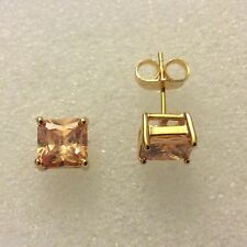 D01 7mm sq. champagne topaz, real gold gf stud earrings BOXED Plum UK RRP £39.99