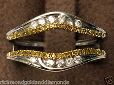 Solitaire Enhancer Canary Yellow Diamonds Ring Guard Wrap 14k White Gold Jacket