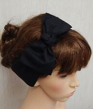 Tie up headscarf bow, self tie retro headband, black head wrap scarf, dolly bow