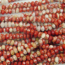 BRECIATED JASPER 6MM FACETED RONDELLE GEMSTONE BEADS A+