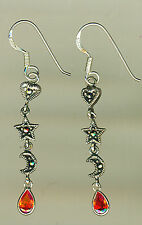 925 Sterling Silver Marcasite Sun Moon Heart with red CZ  Drop / Dangle Earrings