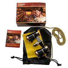 HQRP Black Opera Glasses Theater Binocular with Gold Trim & Necklace Chain