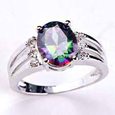 Gorgeous mystic topaz silver 925 unisex dress ring in size P