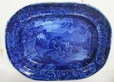"ANTIQUE HISTORICAL BLUE STAFFORDSHIRE PLATTER ""HERMITAGE EN DAUPHINE E.WOOD RARE"