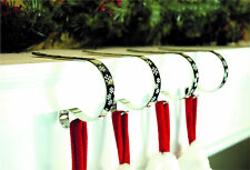 Pack of 2 Silver Shiny with Snowflakes Christmas Mantle Clips Stocking Holder