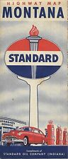 1950 STANDARD OIL COMPANY Road Map MONTANA Yellowstone Glacier National Parks