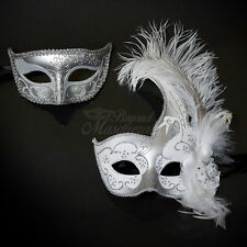His & Hers Couple Masquerade Mask, Silver & White Themed Venetian Mask