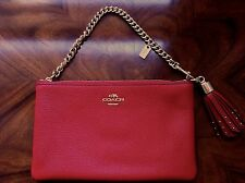 NWT Coach Prairie Red Leather Mini Shoulder Large Phone Wallet Wristlet Purse