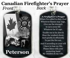 CANADIAN FIREFIGHTER'S PRAYER - Dog tag Necklace/Key chain + FREE ENGRAVING