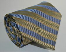 Claiborne Gold & Blue Woven Stripe Classic Neck Tie All Silk Hand Made WIDE