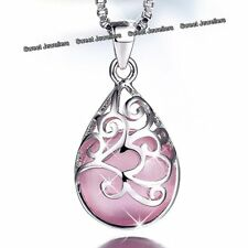 925 Silver Pink Opal Moonstone Necklace Jewellery Xmas Gift For Her Mum Women A1