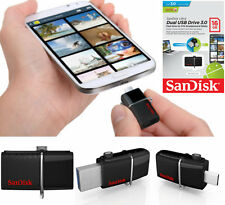 SanDisk 16GB Ultra Dual OTG USB 3.0 Flash Drive Memory Stick For Mobiles Tablets