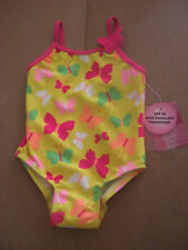 BABY TODDLER SWIMSUIT YELLOW PINK BUTTERFLY ONE PIECE 12M JOE BOXER FREE SHIP