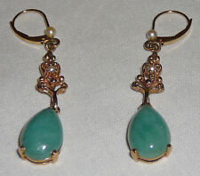 Vintage apple jade pierced earrings, 14K gold