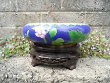 Chinese cloisonne bowl on stand - lovely 20th century Chinese enamel bowl