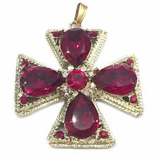 Vtg Gold Red Glass Rhinestone Maltese Cross Massive Runway Pendant Necklace -3