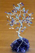 8.5 inch--AMETHYST & blue APATITE gem tree on an AMETHYST crystal cluster