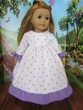 "homemade 18"" american girl/madame alexander purple polka nightgown doll clothes"