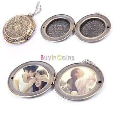 New Woman Man Bronze Round Hollow Photo Frame Locket Long Chain Necklace Sweater