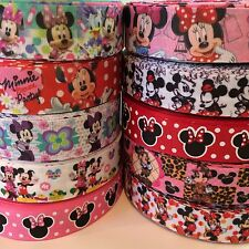 "10 Yards 7/8"" & 1"" Minnie Mousse Mixed Lot Grosgrain Ribbon Hair Bow Supplies"