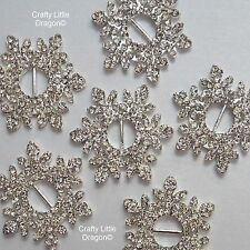 4 x 34mm Flower Snowflake Clear Rhinestone Diamante GEMS Ribbon Buckle Slider