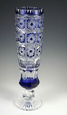 "11"" Cobalt Blue 24% Lead Cut to Clear Crystal Vase"