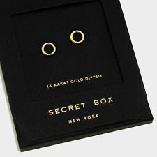 Hoop Earrings Tiny Secret Gift Box 14K GOLD DIPPED Small Stud Classic Elegant