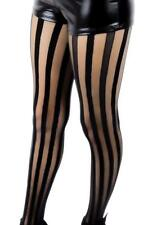 Freakshow Black & Sheer Vertical Stripe Pantyhose Tights Goth Punk Psychobilly