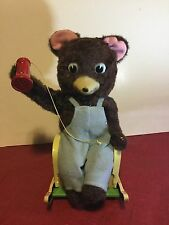 Vintage 1950's Modern Toys Bear W Telephone Battery Operated Tin Lith Japan Toy