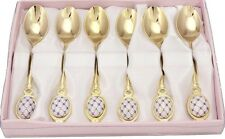 Gold Flatware Set of 6 Dessert Spoons 24K-plated Stainless Steel Cobalt Blue Net