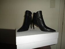 100% AUTH BALENCIAGA/pointed toe buckle/pierce leather/black/ankle boots/7.5