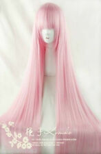 COS 100cm Light Pink Long Straight Cosplay Full Wig+free wig cap