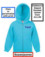 Plain or Printed Personalised Kids Children's hooded hoodie zipped sweat jacket