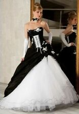 Black white Corset Ball Gown Gothic Bridal Gowns Wedding Dress FREE SHIPPING