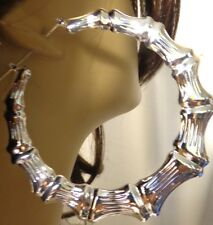 HUGE 3.5 inch hoop  Silver Bamboo earrings- Old School! DOORKNOCKERS
