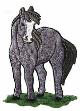 "3-1/8"" Grey Horse Embroidery Iron On Applique Patch"