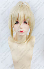 Classic Cap Fate Stay Night Saber Cosplay Wig Light Gold/Blond Clip Ponytail