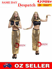Halloween Women Egyptian Queen PVC Leather Gold Costume Cosplay Fancy Dress up