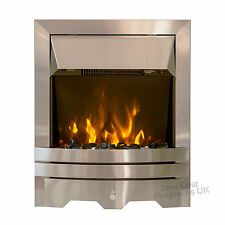 ELECTRIC BRUSHED SILVER HEARTH SURROUND FIREPLACE INSET INSERT FLAME FIRE LED