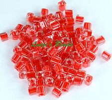 15g Crystal/Tomato Lined #341 -TOHO Cube Glass Beads 4mm