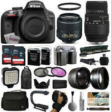 Nikon D3300 DSLR SLR Camera + 18-55mm VR II + Sigma 70-300mm + 128GB Premium Kit