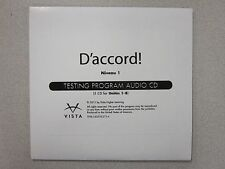 D'accord Niveau 1 French 1 Testing Program Audio CD by Vista New 9781605765716