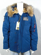 ALPHA INDUSTRIES USAF Military/Field N-2B Down Parka Murmansky Fur Blue size XL