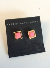 Marc by Marc Jacobs Gold Tone Tiny Rubberized Pink   Square Stud Earrings $42
