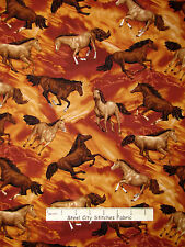 Horse Fabric - Wild Stallion Mare Horses Brown Fabriquilt Round Up #26421 - Yard