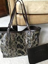 AUTHENTIC GUCCI BROWN  GREEN BLACK PYTHON CRAFT TOTE HANDBAG
